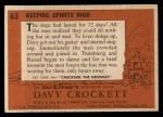 1956 Topps Davy Crockett Orange Back #63   Keeping Spirits High  Back Thumbnail