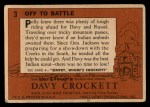 1956 Topps Davy Crockett #3   Off to Battle Back Thumbnail