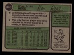 1974 Topps #346  Ron Reed  Back Thumbnail