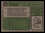 1974 Topps #554  Tim Johnson  Back Thumbnail