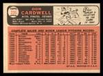 1966 Topps #235  Don Cardwell  Back Thumbnail