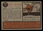 1962 Topps #239  Cecil Butler  Back Thumbnail