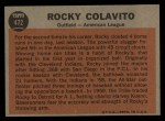 1962 Topps #472   -  Rocky Colavito All-Star Back Thumbnail