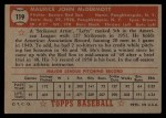 1952 Topps #119  Mickey McDermott  Back Thumbnail