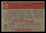 1952 Topps #242  Tom Poholsky  Back Thumbnail