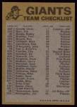 1974 Topps Red Team Checklist   Giants Team Checklist Back Thumbnail