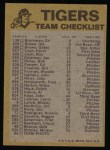 1974 Topps Red Team Checklist   Tigers Team Checklist Back Thumbnail