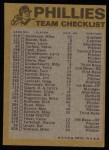 1974 Topps Red Team Checklist   Phillies Team Checklist Back Thumbnail