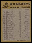 1974 Topps Red Team Checklist   Rangers Team Checklist Back Thumbnail