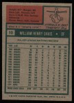 1975 Topps #10  Willie Davis  Back Thumbnail