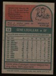 1975 Topps #13  Gene Locklear  Back Thumbnail