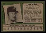 1971 Topps #306 COR Jim Nash   Back Thumbnail