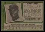 1971 Topps #136  Duffy Dyer  Back Thumbnail