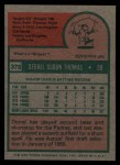 1975 Topps #378  Derrel Thomas  Back Thumbnail