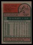1975 Topps #375  Roy White  Back Thumbnail