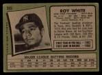 1971 Topps #395  Roy White  Back Thumbnail