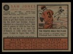 1962 Topps #92  Sam Jones  Back Thumbnail