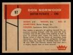 1960 Fleer #97  Don Norwood  Back Thumbnail