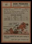 1962 Topps #41  Don Perkins  Back Thumbnail