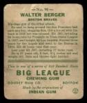 1933 Goudey #98  Wally Berger  Back Thumbnail