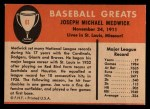 1961 Fleer #61  Ducky Medwick  Back Thumbnail