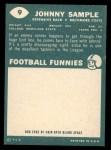 1960 Topps #9  John Sample  Back Thumbnail