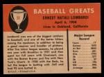 1961 Fleer #55  Ernie Lombardi  Back Thumbnail