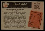 1955 Bowman #125  Paul Giel  Back Thumbnail