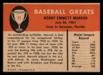 1961 Fleer #57  Heinie Manush  Back Thumbnail