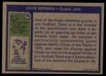 1972 Topps #182  Dave Herman  Back Thumbnail
