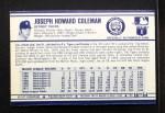 1972 Kellogg's #18  Joe Coleman  Back Thumbnail