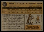 1960 Topps #367  Bill Tuttle  Back Thumbnail