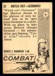 1964 Donruss Combat #33   Watch Out - Germans! Back Thumbnail
