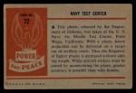 1954 Bowman Power for Peace #72   Navy Test Center Back Thumbnail