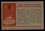 1954 Bowman Power for Peace #93   Atomic Submarine - USS Nautilus Back Thumbnail
