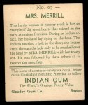 1933 Goudey Indian Gum #65  Mrs. Merrill   Back Thumbnail