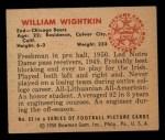 1950 Bowman #63  Bill Wightkin  Back Thumbnail