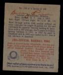 1949 Bowman #138  Buddy Rosar  Back Thumbnail