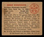 1950 Bowman #18  Eddie Robinson  Back Thumbnail
