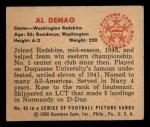 1950 Bowman #65  Al Demao  Back Thumbnail