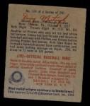 1949 Bowman #124 SCR Danny Murtaugh  Back Thumbnail
