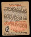 1949 Bowman #11  Lou Boudreau  Back Thumbnail