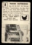 1951 Topps Magic #8  Frank Guthridge  Back Thumbnail