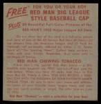 1955 Red Man #17 AL x Joe Coleman  Back Thumbnail