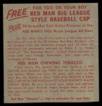 1955 Red Man #5 AL x Bob Grim  Back Thumbnail