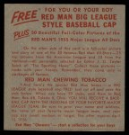 1955 Red Man #16 AL x Yogi Berra  Back Thumbnail