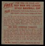1955 Red Man #24 AL x Minnie Minoso  Back Thumbnail