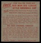 1955 Red Man #1 AL x Ray Boone  Back Thumbnail