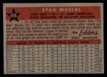 1958 Topps #476   -  Stan Musial All-Star Back Thumbnail