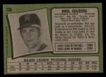 1971 Topps #736  Mel Queen  Back Thumbnail